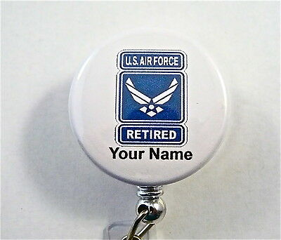 US AIR FORCE RETIRED ID Badge reel retractable MEDIC,DOCTOR,NURSE,ER,RN,MILITARY