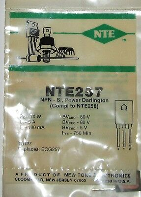 Nte 257  Semiconductor  New, Old Stock