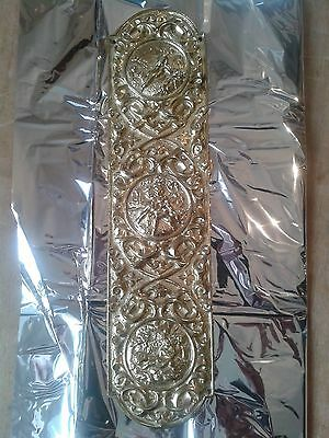Vintage Antique Victorian Edwardian Style Gilt Cast Brass Finger Plate Door Push