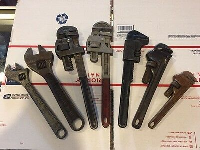 Lot of 7 Wrenches 2 adjustable and 5 pipe wrenches Stillson, Ridge, Keystone ...