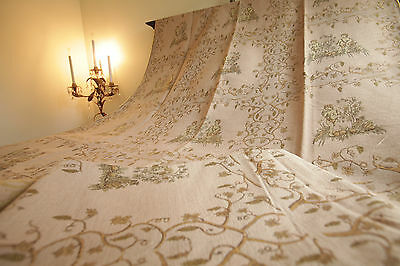 Vintage French Textile Fabric Curtains Angels Cherubs Pink Gold