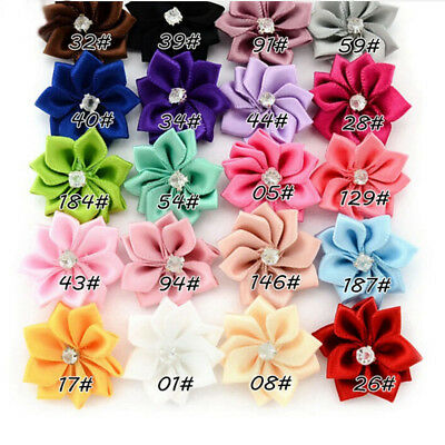 DIY 20 Baby Kids Satin Flower Hair Bow For Headband Hair clip Wedding Decor HC