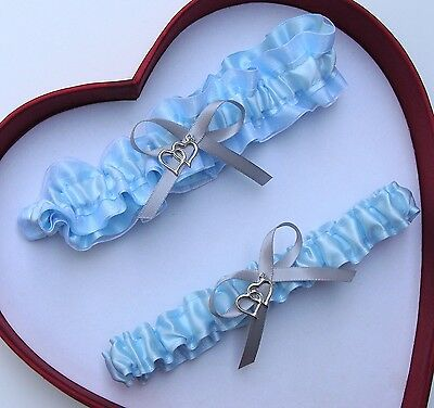 NEW Gorgeous Light Blue Silver White Wedding Garter Prom  GetTheGoodStuff A+