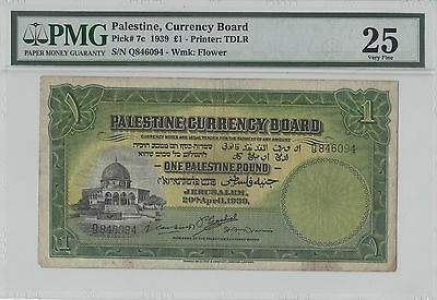1939 PALESTINE CURRENCY BOARD ONE POUND BANKNOTE (Pick# 7c) Very Fine!