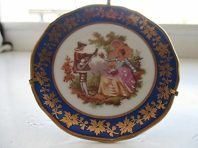 Limoges porcelain miniature plate with stand