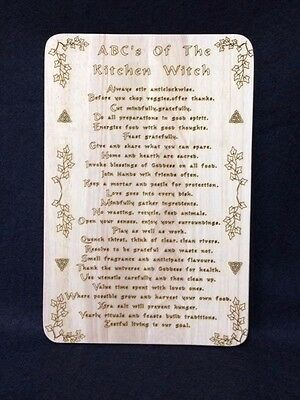 Handcrafted Wooden Kitchen Board with ABC's of Kitchen Witchery ~ Pagan ~ Wicca