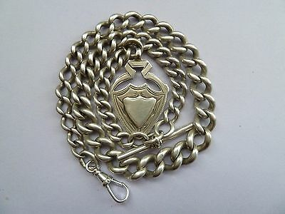 Antique Solid Silver Graduated Albert Pocket Watch Chain. 71.7 grams