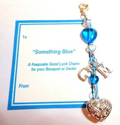 Something Blue Lucky Bridal Charm with Initials Blue & Silver Filigree Heart