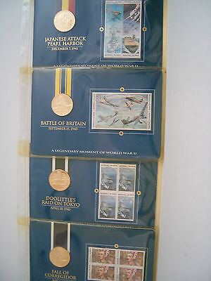 Legendary Moments WW II Marshall Islands 12 - $5 coins $27 in stamps Coins r BU