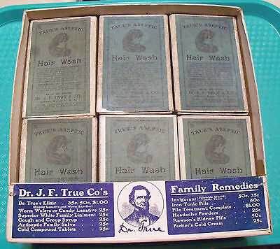 Antique Rare Dr. J. F. True Counter Display With 12 Aseptic Hair Wash Boxes