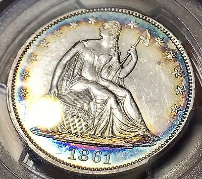 1861 Liberty Seated Silver Half Dollar. Pcgs Au53 Toned Civil War Collector Coin