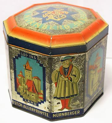 Antique German Nurnberg Haeberlein Metzger AG Biscuit Cookie Candy Tin Container