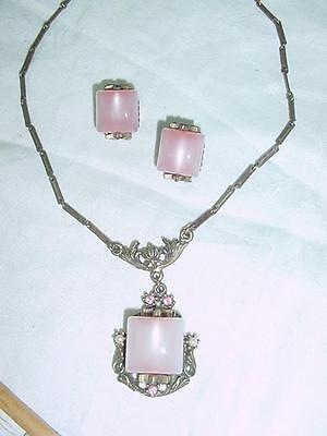 Art Deco  1930s Pink Moonglows Necklace Lavalier & Earring  Gold tone   #1735