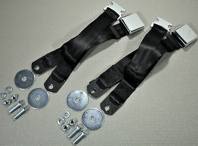 Vintage Chrome Retro Hot Rod Muscle Car Truck Black Seat Belts 2 Sets W/hardware