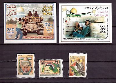 Iraq 2001 #1626/30 Set + 2 S/s Mint Nh, Support For The Palestinians !!