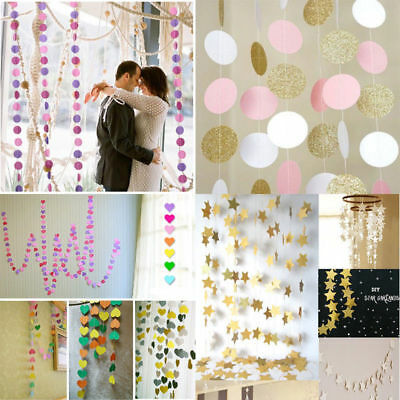 Paper Heart Round Bunting Garland Banner Home Wedding Birthday Party Decoration