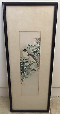VINTAGE JAPANESE ORIGINAL WATERCOLOR PAINTING on paper WITH ARTIST SEAL