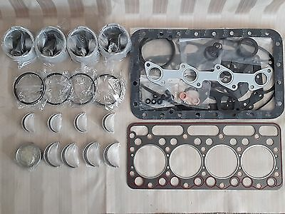 Kubota V1702 Engine Overhaul Kit / Pistons, Rings, Bearings, Gasket Set