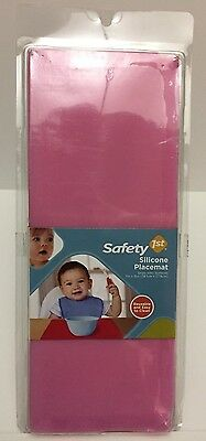 Safety 1st Pink Silicone Placemat Toddler Girl 11x15 Reusable Grips NEW