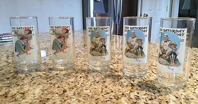 Arbys Saturday Evening Post Collector Series Norman Rockwell Glasses Lot Of 5