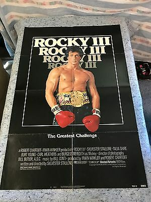 "Rocky III 1982 Original 1 Sheet Movie Poster 27"" x 41"" (F/VF) Sylvester Stallone"