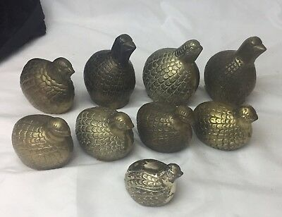 Lot 9 Vtg Brass Quail Partridge Figurines Different Sizes & Designs Bird Statues