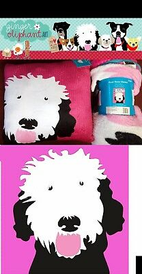"""New Plush blanket and pillow, Dog or Cat """"Art of Ginger Oriphant"""" + free Gift"""