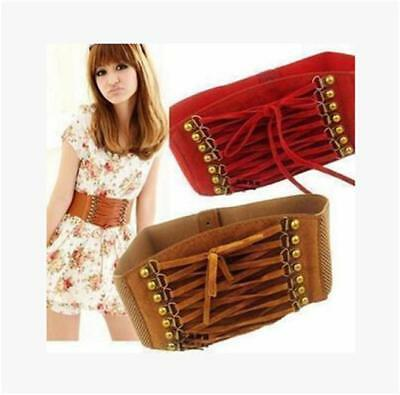 Women New Punk Rivet Elastic Buckle Stretch Waistband Corset Wide Waist Belt S