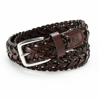 IZOD Boys Brown Braided Leather Belt ~ NWT ~ XS, S, M, L  ~ MSRP $18