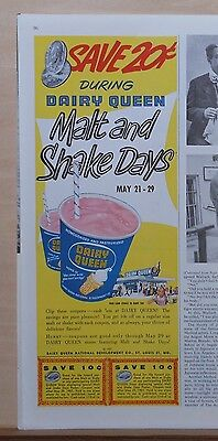 1957 magazine ad for Dairy Queen - DQ Malt & Shake Days, Save 20 cents