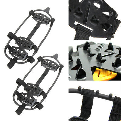 24-Stud Universal Ice Snow Anti Slip Shoe Spikes Grips Cleats Crampons M/L Black