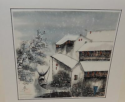 Japanese Snow Village Boats Landscape Original Watercolor Painting Signed