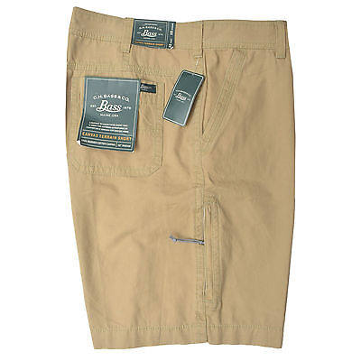 New Mens G. H. BASS CANVAS TERRAIN SHORT & Zip Cargo Pocket Khaki Olive 40 42