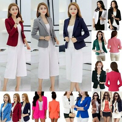 AU Womens Slim One Button Blazer Suit Casual Business Tops Jacket Coat Outwear