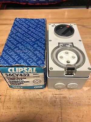 Clipsal 56Cv432 Three 3 Phase Combination Switched Socket 4 Pin 32A. New Unused