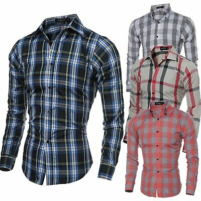 Fashion Men Luxury Long Sleeve Shirt Casual Slim Fit Stylish Plaid Dress Shirts