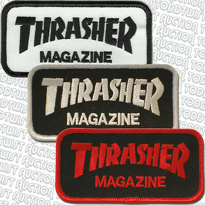 THRASHER  Iron on / Sew on Skateboard Patch - Block Logo - Assorted colours