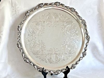 Exceptional Vintage Silverplated Round Footed Serving Tray Strachan C 1960's