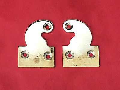 Pair Longcase Grandfather Clock Brass Hood Door Hinges Drilled Polish  Ready Fit