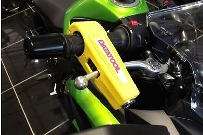Datatool Motorcycle Scooter Security Handlebar Throttle Grip Croc Lock Yellow