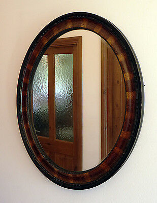 Stunning Antique Victorian Wood Oval  Vintage Wall Mirror