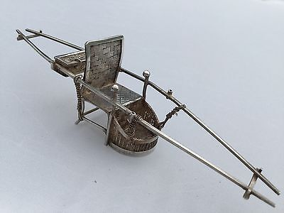 ANTIQUE CHINESE SILVER MINIATURE SEDAN CHAIR. PALANQUIN. c1900
