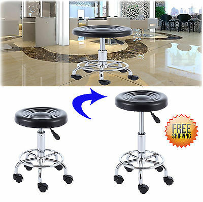 Hydraulic Adjustable Medical Spa Rolling Stool Chair With Wheels and Foot Ring