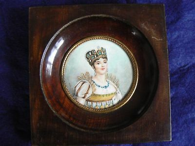 A Lovely Antique 19th Century French Portrait Miniature Of Beautiful Lady, In