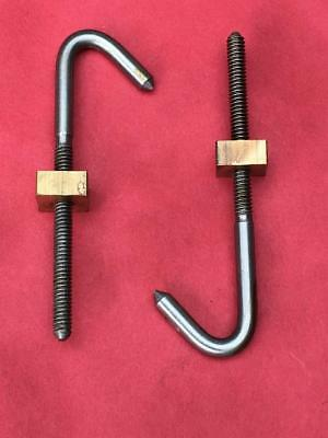 "PAIR LONGCASE GRANDFATHER CLOCK SEATBOARD HOOKS 5/32"" 4mm MOVEMENT HOOK FREE P&P"