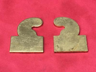 Pair Of Longcase Grandfather Clock Brass Hood Hinge Blanks Case Door Free Uk P&p