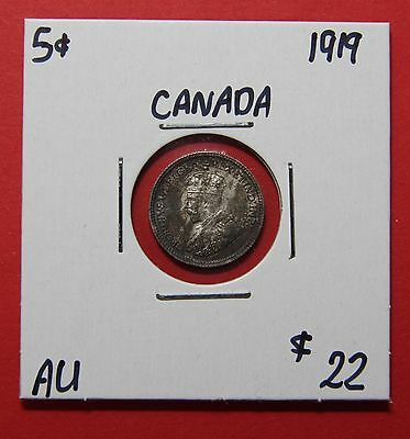1919 Canada Silver Five Cent Coin C171 - $22 AU