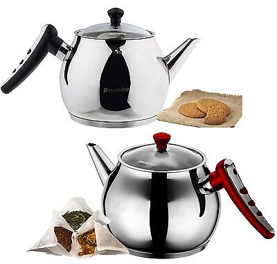 Large Stainless Steel Teapot Stovetop Kettle Coffee Pot Glass Lid Induction Base