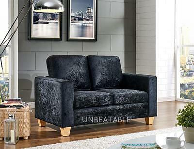 2 Seater Sofa Crushed Velvet Fabric Faux Leather Modern Design Living Office
