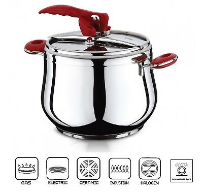 9 Litre ESILA Pressure Cooker Stainless Steel Stovetop Stockpot Induction Base